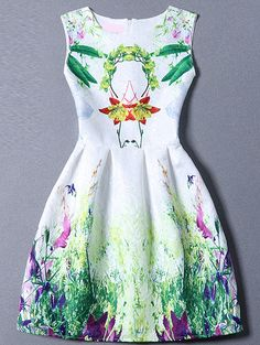 Multicolor Sleeveless Leaves Print Flare Dress -SheIn(Sheinside) Mobile Site