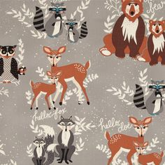 Hello Bear by Bonnie Christine for Art Gallery Fabric - Oh Hello Fog - 1/2 Yard  More yardage and more prints available! We offer additional