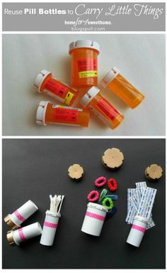 This is a cute repurpose of pill bottles for holding and organizing small items.