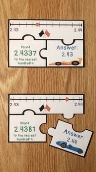 Rounding Decimals Puzzles CCSS 5.NBT.4, serve as a valuable asset to any 5th grade classroom. This is a great resource for review, math centers, group work and for interventions. This racing themed rounding decimals puzzle set includes 32 puzzles, answer key, and an optional center instruction page. It covers rounding decimals to the nearest whole number, tenth, hundredth, and thousandth. Your students will love learning about rounding decimals with this product!