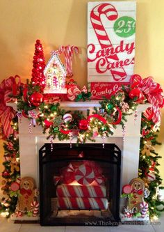 I love the peppermints in the fireplace (make living room the peppermint room! I like the gingerbread men.we can incorporate this and make christmas a candy land theme rather than just candy cane theme. Candy Land Christmas, Whimsical Christmas, Christmas Tree Themes, All Things Christmas, Christmas Crafts, Christmas Christmas, Christmas Ideas, Peppermint Christmas Decorations, Christmas Villages