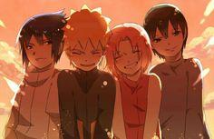 Team 7, Naruto, Sakura, Sasuke, Sai, smiling; Naruto