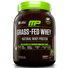 MusclePharm Natural, Grass-Fed Whey, Natural Whey Protein Powder Drink Mix, Chocolate, 2 lbs (910 g)