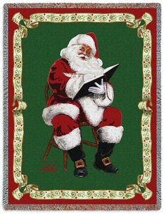 "Santa's Notes Christmas Tapestry Throw Blanket by Donald Zolan 53"" x 70""  #Christmas #Santa #Art #Decor #Home #Decorations #BeddingNMore"
