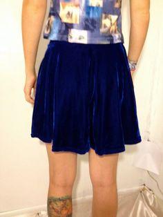 VTG Blue Velvet Mini Skirt by thatVideoVAMPvintage on Etsy