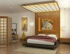 One of the typical Japanese interior is a Japanese style bedroom. Japanese style bedroom is full of philosophy. Accuracy is achieved by placing the opposite nature of the constituent material Japanese bedroom. Asian Style Bedrooms, Asian Bedroom, Indian Bedroom Decor, Bedroom Styles, Japanese Inspired Bedroom, Japanese Style Bedroom, Japanese House, Japanese Interior Design, Asian Interior