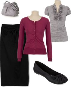 """grey & maroon"" by holiness-preachers-wife ❤ liked on Polyvore"