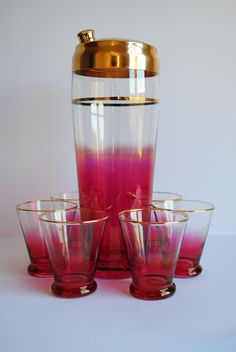 Vintage Raspberry Cocktail Set #vintage #barware