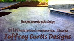 St Louis Stamped concrete patio with concrete seating walls/fire pit designed by T & H Foundations and concrete services