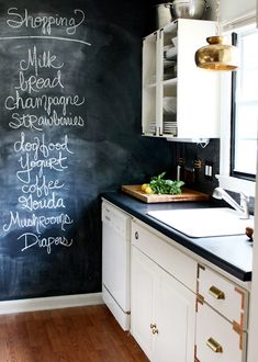 Paint an entire wall in the kitchen with chalkboard paint. Great for writing inspirational quotes, reminders, and shopping lists!