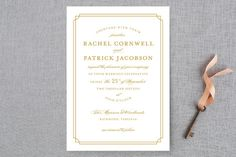 """Luxe Border"" - Formal, Classical Wedding Invitations in Gold by Sarah Brown."