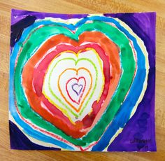 2nd Grade Concentric Shapes   King Elementary Art Room  Concentric shapes 2nd grade art lesson, crayon resist with watercolor