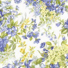 Summer Breeze II Moda Quilt Fabric 1 2 yd Ivory Blue Floral Bouquets 32590 11 | eBay