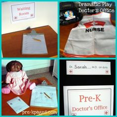 Doctor's Office dramatic play kit via www.pre-kpages.com/dramatic-play-doctors-office/