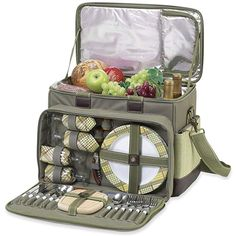 Outdoor Picnic at Ascot Hamptons Deluxe Insulated Picnic Cooler for 4 - Olive and Tweed Picnic Basket Set, Picnic Set, Family Picnic, Picnic Time, Picnic Ideas, Camping Ideas, Outdoor Cooler, Picnic Cooler, Food Cooler
