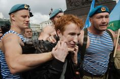 Picket against homophobia held during Russia Paratroopers day by Roma Yandolin. August 2nd 2013, St. Petersburg. http://www.demotix.com/photo/2326906/picket-against-homophobia-held-during-russia-paratroopers-day=1