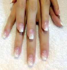wedding nails French manicure nail art ideas white tip Frensh Nails, Lace Nails, Pink Nails, Hair And Nails, Wedding Day Nails, Wedding Manicure, Manicure And Pedicure, Wedding Fun, Purple Wedding