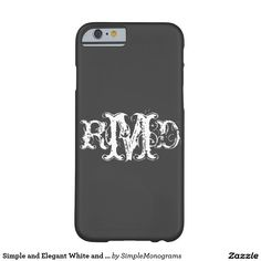 Simple and Elegant White and Black Monograms Barely There iPhone 6 Case