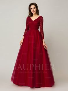 A-line V-neck Floor-length Prom Dresses / Evening Dresses (LPR000224) - Lauphier