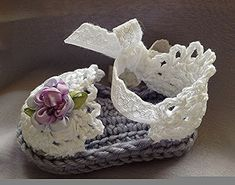 Baby Crochet Sandals in Lavender and ❤ by TippyToesBabyDesigns, $35.00