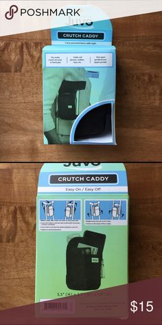 New with tags CRUTCH CADDY by Juvo New with tags CRUTCH CADDY by Juvo. Carry personal items with style. Carry phone, key wallet etc. fits under arm pad or hand grip. One open pocket & one zipper pocket JUVO  Other