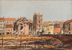 Gross František (1909–1985) | A City, the 1940s | Aukce obrazů, starožitností | Aukční dům Sýpka 1940s, Taj Mahal, Auction, City, Building, Travel, Painting, Carton Box, Construction