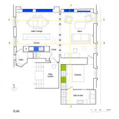 Interesante representación de un plano de planta....reforma de un apartamento en París...