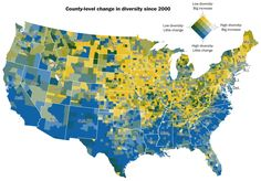 Increasing diversity    Dan Keating and Laris Karklis for The Washington Post map the change in diversity since 2000. The color scale, shown in the top right, represents two things: level of diversity…Tags: diversity, Wash   http://flowingdata.com/2016/11/29/increasing-diversity/