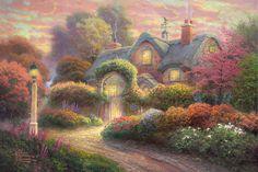 Thomas Kinkade ~ Rosebud Cottage