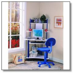 - Update your office furniture with this blue InRoom corner desk. - Update your office furniture with this blue InRoom corner desk., - Update your office furniture with this blue InRoom corner desk. Kids Corner Desk, Kids Computer Desk, White Corner Desk, Small Room Desk, Corner Workstation, Desk With Keyboard Tray, Desks For Small Spaces, Kid Desk, Small Computer