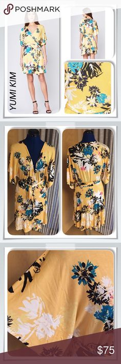 """Yumi Kim Calligraphy Print SAKURA Wrap Dress Sz L YUMI KIM Sakura Wrap Dress - Calligraphy Print  Style DR-16118 A kimono-inspired wrap dress Details include a deep v-neck, dolman sleeves, and tie waist.  Fabric - 96% Polyester, 4% Spandex  Size Large  Bust - 20"""" Waist - 17"""" Length - 35"""" (from top of shoulder) Excellent like-new condition! This dress was a bit too big for my dress form so I apologize for the pics. Yumi Kim Dresses"""