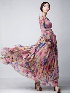 Pink Floral Printed Long Sleeves Chiffon Jewel Neck Maxi Dress - Milanoo.com
