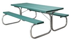 Residential Picnic Table  Sturdy metal and injection-molded plastic picnic table for home use