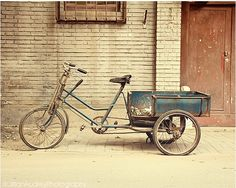 TITLE: Blue Bicycle LOCATION: Beijing, China This rustic bicycle photograph is part of a series of my Beijing Bicycle Project series, featuring bicycles that I found around the city of Beijing. This b