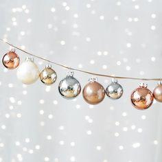 Holiday Decorations under $50 - Hue Ornaments Iced Metallic Set, dwellstudio.com #InStyle