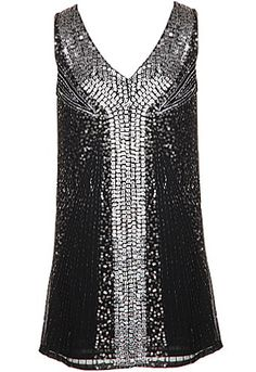 Double Diamond Dress: Features a gorgeous V-neckline teamed with an elegant sleeveless cut, dazzling metallic front with miniature beads and sparkling sequins placed in perfect symmetry, solid black backside, and a trend-right shift silhouette to finish.