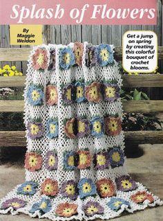 Spring Flowers Afghan Crochet Pattern  Floral por PaperButtercup, $3.50
