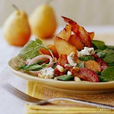 Peppery arugula teams up with creamy Gorgonzola and sweet pears for a beautiful start to a stylish dinner party. Hint: Be sure to cook the pancetta or bacon till crispy./