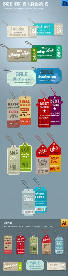 Buy Set of 8 Labels by corrella on GraphicRiver. Updated March 2013 8 different labels in 2 different color styles. 404 Pages, Badge Logo, Vector Shapes, March 2013, Web Banner, Logo Templates, Logo Design, Social Media, Social Media Tips