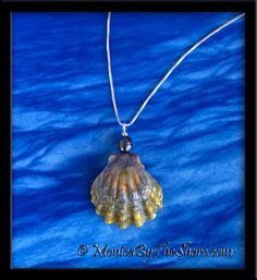 """Moonrise"" Hawaiian Sunrise Shell and Tahitian Black Pearl Necklace ~ www.MonicaByTheShore.com"