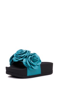 Jeffrey Campbell Shoes EDIE-ROSE New Arrivals in Blue Satin