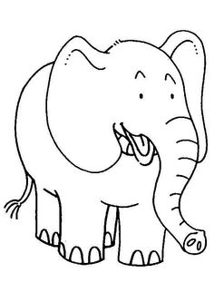 Smiling Elephants Picture For Coloring