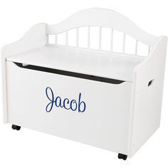 Kidkraft Personalized Limited Edition White Toy Box Blue Script Boy S Name