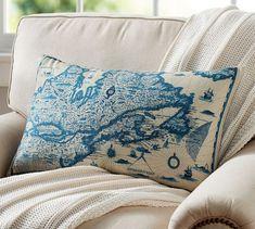 Beautiful vintage map pillow