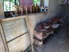 Shoe shop in a garage