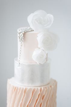 Classic yet elegant three-tiered cake. Follow us @SIGNATUREBRIDE on Twitter and on FACEBOOK @ SIGNATURE BRIDE MAGAZINE