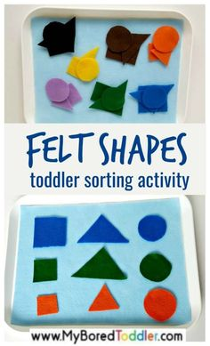 felt shape sorting for toddlers. A simple toddler activity that focus on fine motor skills, color recognition and simple play. A great activity for toddlers and 1 year olds, 2 year olds and 3 year olds. - Spring Activities for Kids Crafts For 3 Year Olds, Arts And Crafts For Teens, Activities For 2 Year Olds, Toddler Learning Activities, Infant Activities, Preschool Activities, Shape Activities, Alphabet Activities, Family Activities