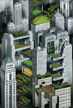 A vision for cities.  China leading the way.  Roof-top gardens in the concrete jungle.