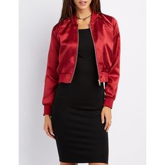 Charlotte Russe Satin Cropped Bomber Jacket (€19) ❤ liked on Polyvore featuring outerwear, jackets, red, light weight jacket, satin bomber jacket, lightweight bomber jacket, cropped bomber jacket and flight jacket