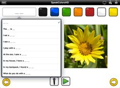 SpeakColorsHD is a speech therapy app designed to encourage young children to imitate and use simple sentences using colors and photos of objects. This app is geared toward toddlers with speech and language delays, autism, Down syndrome and other developmental disorders.